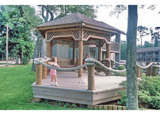 首页 汉威产品 景观木结构 凉亭  立于山坡之上,藏于青草之间,六坡